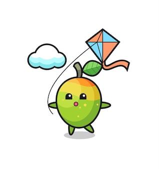L'illustrazione della mascotte del mango sta giocando a un aquilone, un design in stile carino per maglietta, adesivo, elemento logo