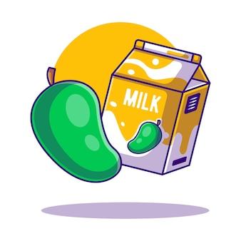 Illustrazioni del fumetto di scatola di mango e latte per la giornata mondiale del latte