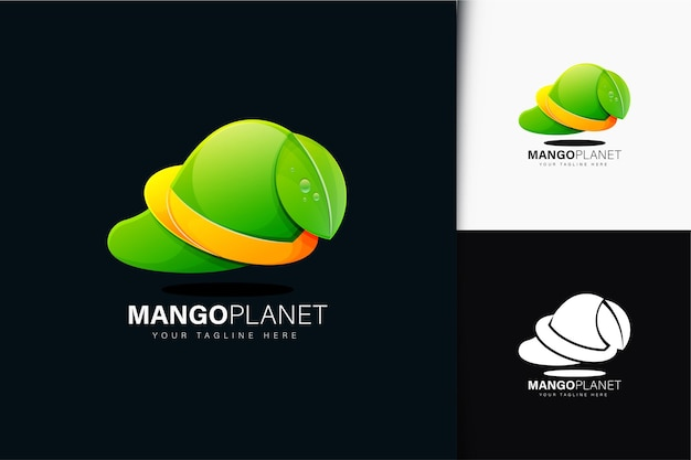 Design del logo del pianeta mango con sfumatura