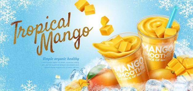 Banner di frullato di mango con cubetti di ghiaccio su sfondo di fiocchi di neve congelati in illustrazione 3d