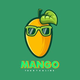 Mango con gli occhiali mascotte dei cartoni animati logo design