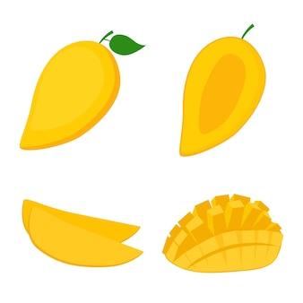 Mango, frutta intera, metà e fette, illustrazione vettoriale