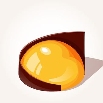 Mango yuzu dessert con cioccolato in stile cartone animato