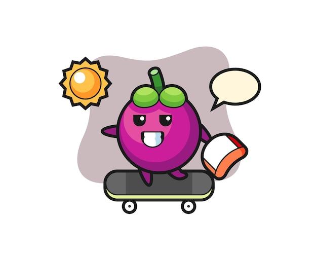 L'illustrazione del personaggio di mangostano cavalca uno skateboard, design in stile carino per maglietta, adesivo, elemento logo