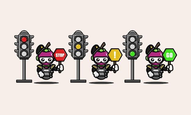 Il poliziotto mangostano con il simbolo del segnale stradale