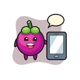 Fumetto dell'illustrazione del mangostano che tiene uno smartphone, design in stile carino per maglietta, adesivo, elemento logo