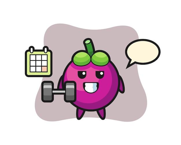 Cartone animato mascotte mangostano che fa fitness con manubri, design in stile carino per t-shirt, adesivo, elemento logo