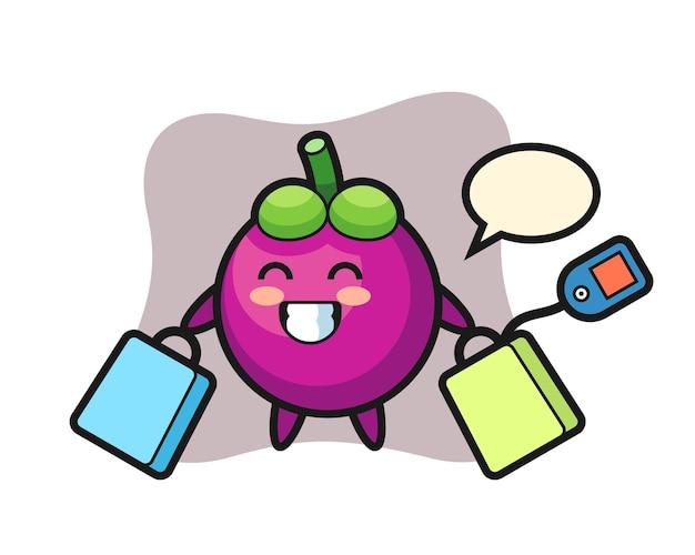 Cartone animato mascotte mangostano con in mano una borsa della spesa, design in stile carino per maglietta, adesivo, elemento logo