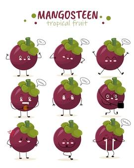 Mangostano viola regina frutta illustrazione personaggio icona animazione mascotte dei cartoni animati espressione