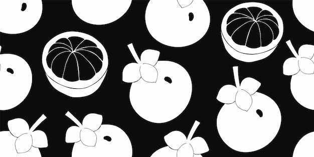 Modello senza cuciture di mangostano. illustrazione di frutta disegnata a mano.