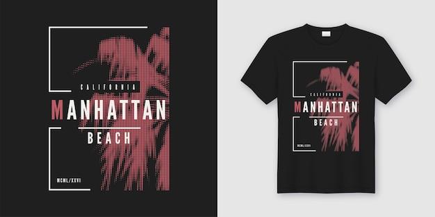 T-shirt da spiaggia di manhattan e abbigliamento dal design alla moda con palme in stile