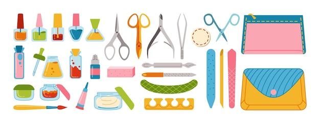 Set di cartoni animati per manicure, lucidatura unghie, smalto per unghie, lima, pinzette, crema per le mani, forbici, olio, tronchesi e pennello. strumenti per manicure design elementi bellezza e concetto spa