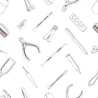 Modello senza cuciture di attrezzature per manicure. sfondo di contorno disegnato a mano.