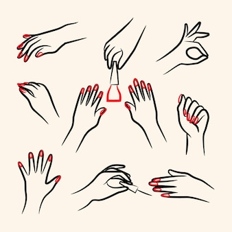Pacchetto di illustrazioni per mani manicure