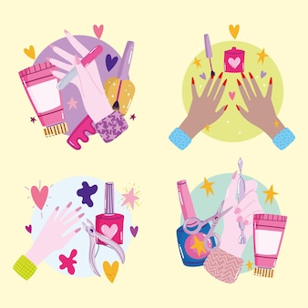 Manicure, set con mani femminili smalto per unghie crema e strumenti del fumetto