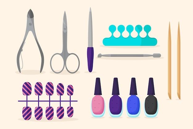 Concetto di raccolta strumenti manicure