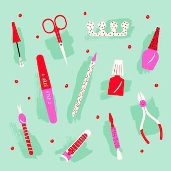 Raccolta di illustrazioni di strumenti per manicure