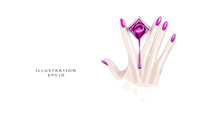 Tubo per manicure con smalto per unghie