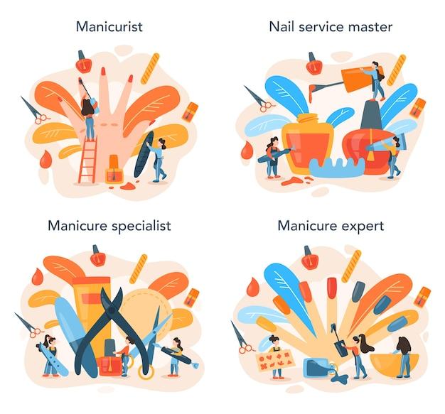 Set di concetto di servizio manicure