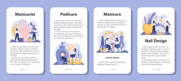 Set di banner per applicazioni mobili di servizio manicure. lavoratore di salone di bellezza.