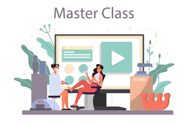 Piattaforma o servizio online di servizio manicure. lavoratore di salone di bellezza. trattamento delle unghie e. master class online.