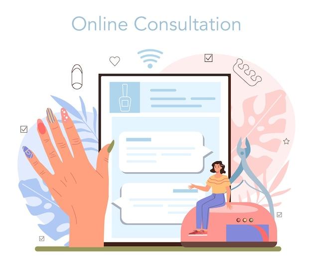 Servizio o piattaforma online di servizio di manicure. il maestro di manicure sta facendo una manicure. trattamento e design delle unghie. consultazione in linea. illustrazione vettoriale isolato