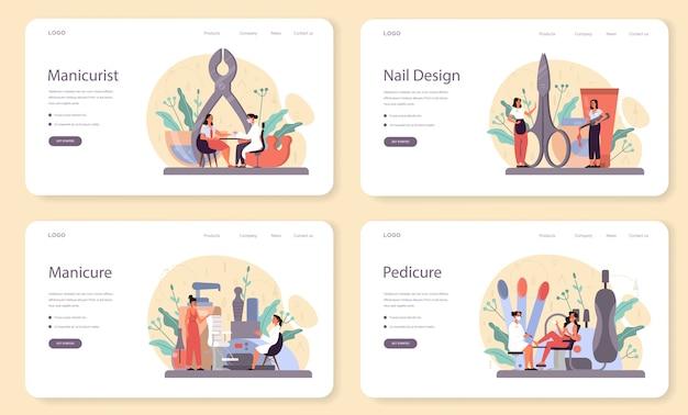 Banner web di servizio manicure o set di pagine di destinazione.