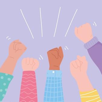 Manifestazione attivisti di protesta, diversità in alto la rivoluzione delle mani