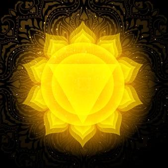 Manipura chakra con mandala. chakra del plesso solare.
