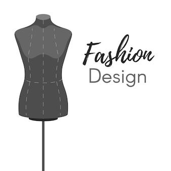 Manichino moda design copertina moderna su sfondo bianco.