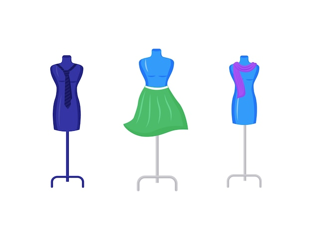 Manichini con set di oggetti di colore piatto dell'indumento. ripara e crea vestiti sul modello. fashion designer studio arredamento isolato cartoon
