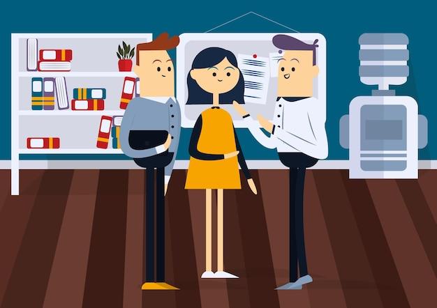 Uomo e donna che parlano. davanti a un consiglio in ufficio. illustrazione di vettore del fumetto di colore