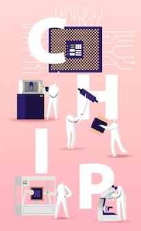 Illustrazione di fabbricazione di chips semiconductors.