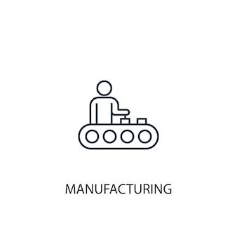Icona della linea di concetto di produzione. illustrazione semplice dell'elemento. disegno di simbolo di contorno del concetto di produzione. può essere utilizzato per ui/ux mobile e web