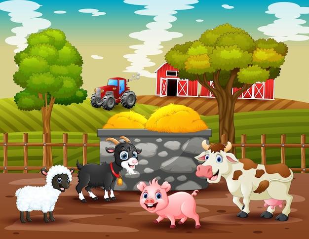 Molti animali in un'illustrazione del paesaggio dell'azienda agricola