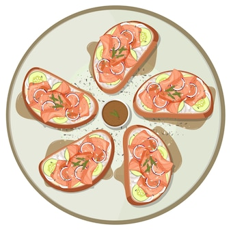 Molti pani con salmone affumicato in cima