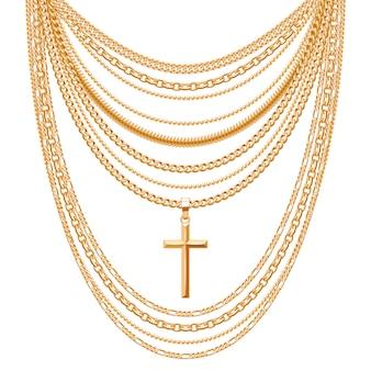 Collana con molte catene in metallo dorato con croce. accessorio di moda personale.