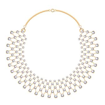 Collana con molte catene in metallo dorato con pietre preziose di diamanti. accessorio di moda personale.