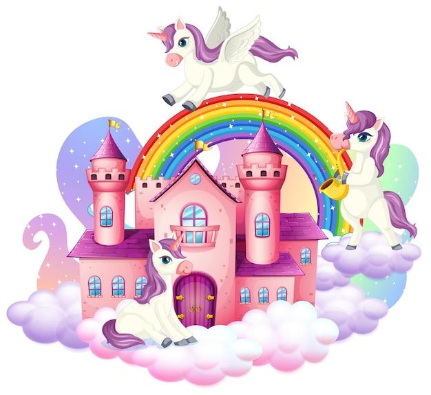 Molti simpatici personaggi dei cartoni animati di unicorni con castello sulla nuvola