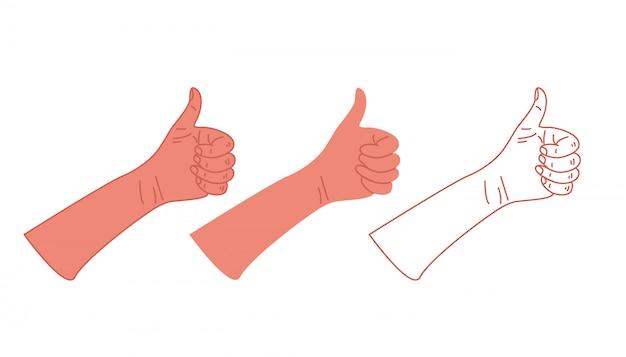 Molte mani differenti con il gesto con il pollice su e la raccolta del segno isolate Vettore Premium