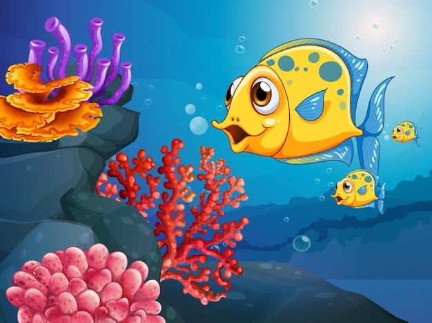 Personaggio dei cartoni animati di molti pesci esotici nella scena subacquea con i coralli