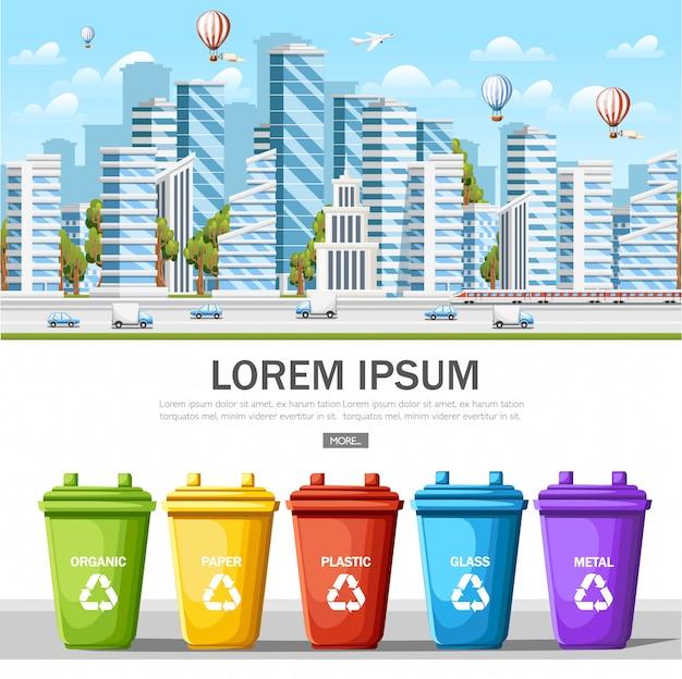 Molti bidoni della spazzatura con immondizia ordinata. smistamento dei rifiuti. ecologia e concetto di riciclo. città moderna pulita. concetto di eco per sito web o pubblicità