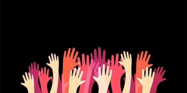 Molte mani in alto illustrazione colorata
