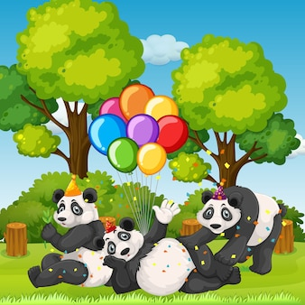Molti panda in tema di festa sullo sfondo della foresta di natura