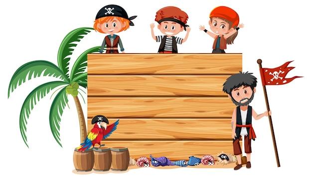 Molti bambini pirata con uno striscione vuoto isolato su sfondo bianco
