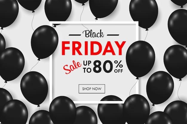 Molti palloncini neri lucidi galleggiano con la casella di testo promozionale blackfriday durante il fine settimana