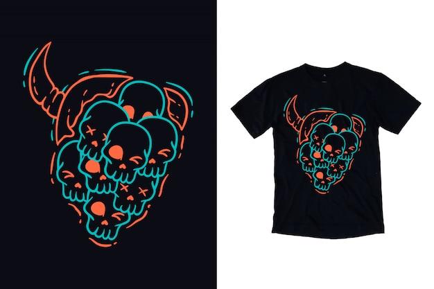 Un cranio molti con l'illustrazione di concetto del diavolo per la maglietta