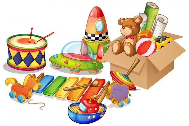 Molti giocattoli su sfondo bianco