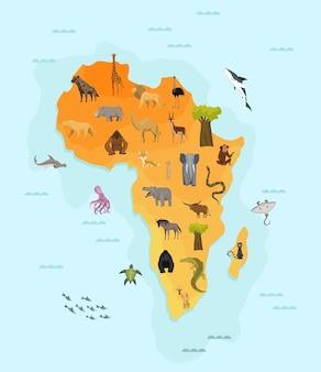 Mappa dell'africa con diversi animali
