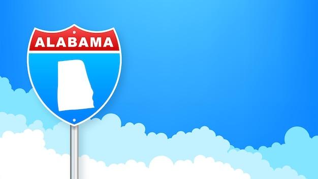 Mappa dello stato dell'alabama stati uniti d'america, cartello stradale di contorno dell'alabama. contorno blu incandescente. illustrazione vettoriale.